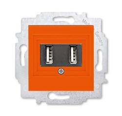 USB зарядка двойная ABB Levit оранжевый - фото 119058
