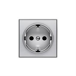Накладка для розетки SCHUKO, серия SKY, цвет серебристый алюминий - фото 137681