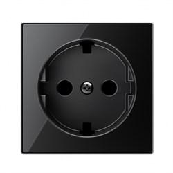 Накладка для розетки SCHUKO с плоской поверхностью, серия SKY, цвет стекло чёрное - фото 137685