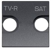 Накладка для TV-R-SAT розетки, 2-модульная, серия Zenit, цвет антрацит