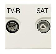 Розетка TV-R-SAT проходная с накладкой, серия Zenit, цвет альпийский белый
