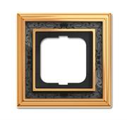 Рамка 1-постовая, серия Династия, Латунь полированная, черная роспись