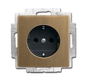 Розетка SCHUKO 16А 250В с защитными шторками, c LED-подсветкой, серия ДИНАСТИЯ, цвет античная латунь
