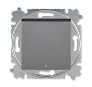Переключатель одноклавишный с подсветкой ABB Levit ориентационная сталь / дымчатый чёрный