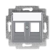 Накладка с суппортом ABB Levit для информационных разъёмов сталь