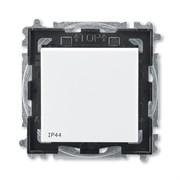 Переключатель кнопочный одноклавишный ABB Levit IP44 белый / дымчатый чёрный