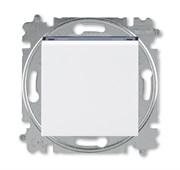 Выключатель кнопочный одноклавишный ABB Levit белый / дымчатый чёрный