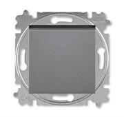 Выключатель кнопочный одноклавишный ABB Levit сталь / дымчатый чёрный