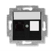 Розетка информационная ABB Levit RJ45 категория 5e и заглушка антрацит
