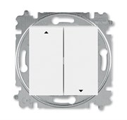 Выключатель жалюзи двухклавишный ABB Levit с фиксацией клавиш белый / ледяной
