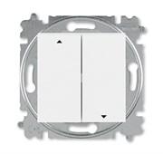 Выключатель жалюзи двухклавишный ABB Levit с фиксацией клавиш белый / белый