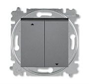 Выключатель жалюзи двухклавишный ABB Levit с фиксацией клавиш сталь / дымчатый чёрный