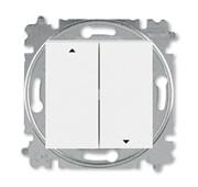 Выключатель жалюзи двухклавишный ABB Levit без фиксации клавиш белый / ледяной