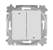 Выключатель жалюзи двухклавишный ABB Levit без фиксации клавиш серый / белый