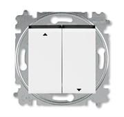 Выключатель жалюзи двухклавишный ABB Levit без фиксации клавиш белый / дымчатый чёрный