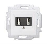 USB зарядка двойная ABB Levit белый