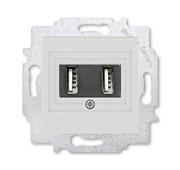 USB зарядка двойная ABB Levit серый