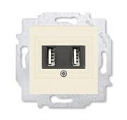 USB зарядка двойная ABB Levit слоновая кость