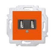 USB зарядка двойная ABB Levit оранжевый