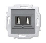 USB зарядка двойная ABB Levit сталь