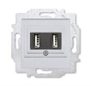 USB зарядка двойная ABB Levit серебро