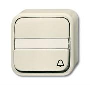 """""""Кнопка 1-клавишная, 1-полюсная, (НО контакт), с N-клеммой, с символом """"""""ЗВОНОК"""""""", с полем для надписи, для открытого монтажа, серия"""