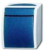 Кнопка 1-клавишная, 1-полюсная, с N-клеммой, IP44, для открытого монтажа, серия ocean, цвет серый/сине-зелёный