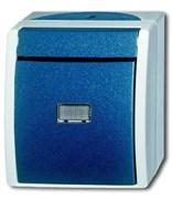 Кнопка 1-клавишная, 1-полюсная, с подсветкой, IP44, для открытого монтажа, серия ocean, цвет серый/сине-зелёный