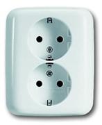 Розетка SCHUKO 16А 250В, двойная, серия Reflex SI, цвет альпийский белый
