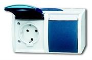 Розетка SCHUKO 16А 250В IP44, двойная, горизонтальная, с полем для надписи, для открытого монтажа, серия ocean, цвет серый/сине-зелё