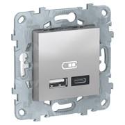 UNICA NEW РОЗЕТКА USB, 2-местная, тип А+С, 5 В / 2400 мА, АЛЮМИНИЙ