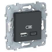 UNICA NEW РОЗЕТКА USB, 2-местная, тип А+С, 5 В / 2400 мА, АНТРАЦИТ