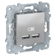 UNICA NEW розетка USB, 2-местная, тип А+А, 5 В / 2100 мА, алюминий