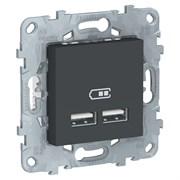 UNICA NEW розетка USB, 2-местная, тип А+А, 5 В / 2100 мА, антрацит