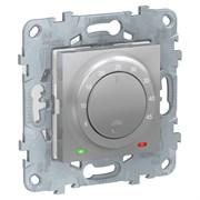 UNICA NEW термостат теплого пола, 10А, выносной термодатчик, алюминий