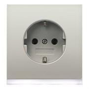 Розетка Jung, скрытый монтаж, с заземлением, нержавеющая сталь, ES2520-OLEDW